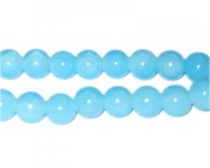 10mm Light Larimar-Style Glass Beads, approx. 21 beads