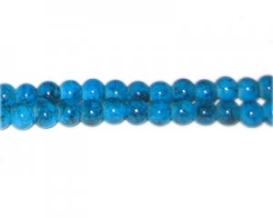 6mm Blue Marble-Style Glass Bead, approx. 72 beads