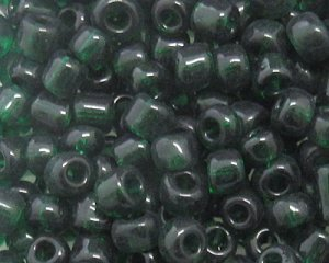 6/0 Dark Green Transparent Glass Seed Bead, 1oz. bag