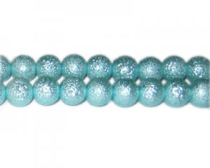 10mm Baby Blue Rustic Glass Pearl Bead, approx. 23 beads