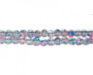 6mm Cotton Candy Crackle Season Glass Bead, approx. 72 beads