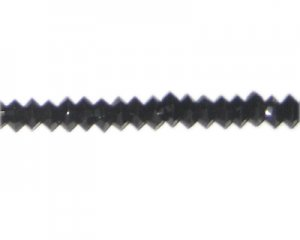 "8 x 4mm Black Faceted Disc Glass Bead, 13"" string"