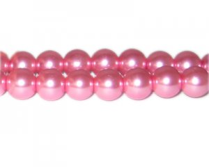 12mm Princess Pink Glass Pearl Bead, approx. 18 beads