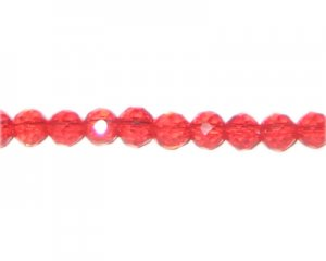 "8mm Strawberry Red Faceted Round Glass Bead, 13"" string"