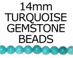 "14mm Round Turquoise Bead, 16"" string"