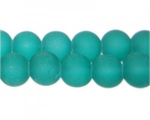 12mm Aqua Sea/Beach-Style Glass Bead, approx. 18 beads
