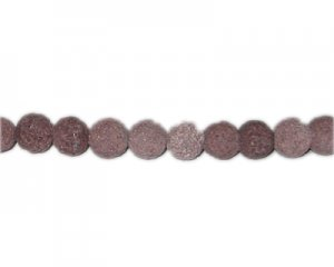 12mm Brown Lava Gemstone Bead, approx. 11 beads