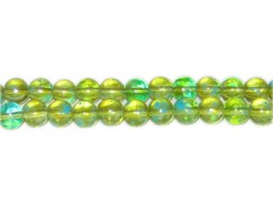 8mm Green Blossom Spray Glass Bead, approx. 52 beads