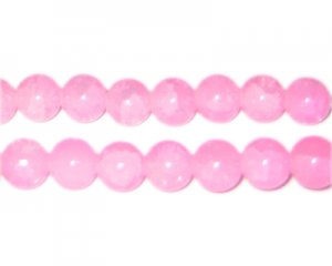 10mm Light Pink Jade-Style Glass Beads, approx. 21 beads
