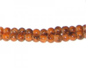 6mm Fire Agate-Style Glass Bead, approx. 72 beads