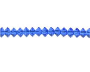 "10 x 6mm Blue Faceted Disc Glass Bead, 14"" string"