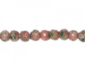 6mm Pink Round Cloisonne Bead, 10 beads