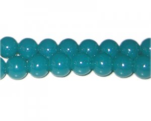 10mm Bottle Green Jade-Style Glass Bead, approx. 21 beads