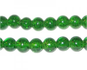 8mm Grass Green Crackle Glass Bead, approx. 55 beads