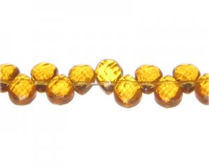 "8x12mm Deep Gold Faceted Drop Glass Bead, 13"" string"