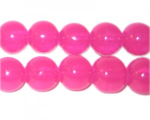 12mm Hot Pink Jade-Style Glass Bead, approx. 18 beads