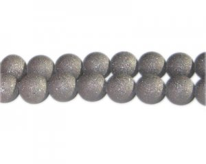 10mm Charcoal Druzy-Style Electroplated Glass Bead, approx. 24 b