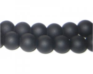 10mm Black Sea/Beach-Style Glass Bead, approx. 16 beads