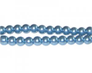6mm Powder Blue Glass Pearl Bead, approx. 78 beads