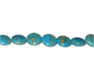 16mm Reconstituted Turquoise Bead, approx. 11 beads