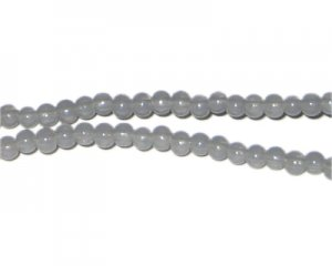 4mm Silver Jade-Style Glass Bead, approx. 105 beads