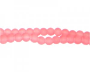 6mm Peachy Pink Sea/Beach-Style Glass Bead, approx. 71 beads