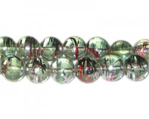 12mm Candy Cane Abstract Glass Bead, approx. 18 beads
