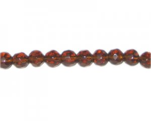 "8mm Golden Brown Faceted Round Glass Bead, 13"" string"