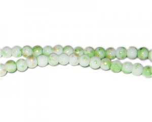 6mm Apple Green GoldLeaf-Style Glass Bead, approx. 72 beads