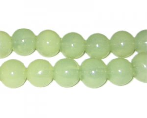 12mm Pistachio Jade-Style Glass Bead, approx. 18 beads