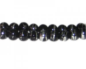 10mm Black Thunder Abstract Glass Bead, approx. 22 beads