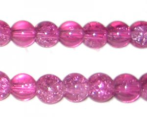 "10mm Fuchsia Crackle Glass Bead, 8"" string"