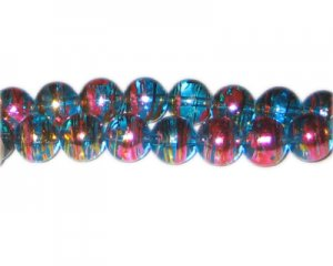 10mm Turquoise Twirl Abstract Glass Bead, approx. 22 beads