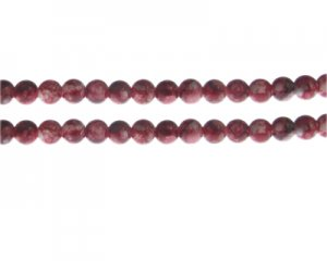 6mm Red Swirl Marble-Style Glass Bead, approx. 48 beads