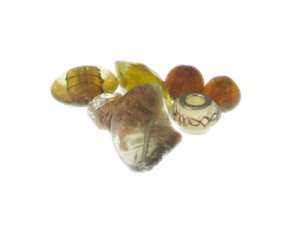 Approx. 1.5 - 2oz. Yellow/Gold/Brown Glass Lampwork Bead Mix