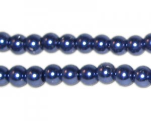 6mm Round Royal Blue Glass Pearl Bead, approx. 78 beads