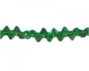 6mm Green Side-Drilled Faceted Bi-cone Glass Bead, 12 beads