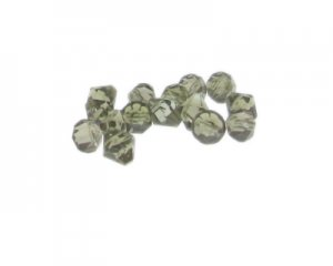 8mm Silver Side-Drilled Faceted Bi-cone Glass Bead, 20 beads