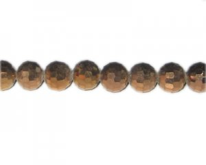 "10mm Copper Electroplated Faceted Round Glass Bead, 13"" string"