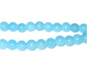 8mm Light Larimar-Style Glass Beads, approx. 53 beads