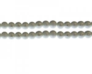 6mm White Rustic Glass Pearl Bead, approx. 71 beads