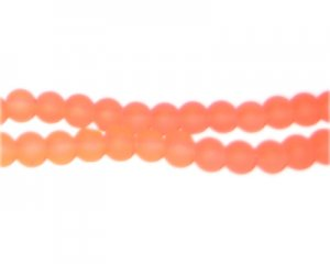 6mm Bright Orange Sea/Beach-Style Glass Bead, approx. 71 beads