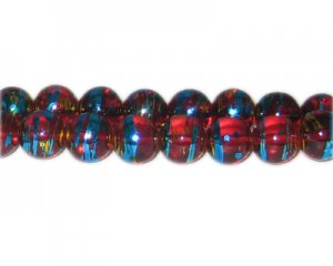 12mm Red Flame Abstract Glass Bead, approx. 18 beads