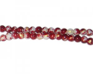 6mm Deep Red GoldLeaf-Style Glass Bead, approx. 72 beads