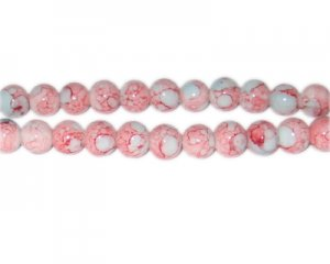 8mm Red/Gray Marble-Style Glass Bead, approx. 52 beads