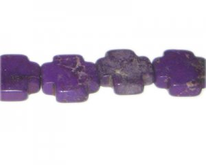 "20mm Purple Dyed Turquoise Cross Bead, 16"" string"