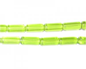 "8x4mm Apple Green Pressed Glass Tube Bead, 2 x 12"" strings"
