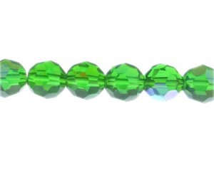 "14mm Green AB Finish Faceted Glass Bead, 13"" string"