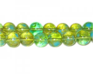 12mm Green Blossom Spray Glass Bead, approx. 18 beads