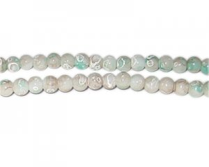6mm Sea Swirl Marble-Style Glass Bead, approx. 73 beads